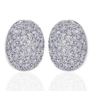 1.50 Carat Diamond Cluster Button Earring 18K Gold